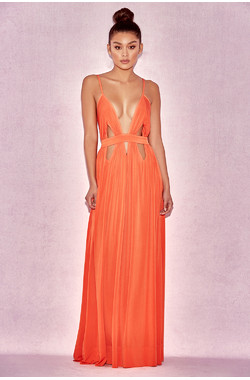 'Ischia' Orange Deep V Maxi Dress