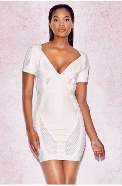 Marinella White Deep V Bandage Mesh Dress
