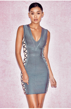 Pasqualina Sage Green Lace Up Bandage Dress