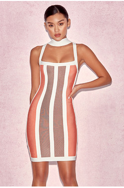 'Shah' Orange, Coffee & White Halter Bandage Dress