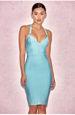 Shanna Blue Plunge Neck Bandage Dress