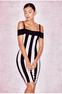 Tiff Black & White Striped Off Shoulder Bandage Dress