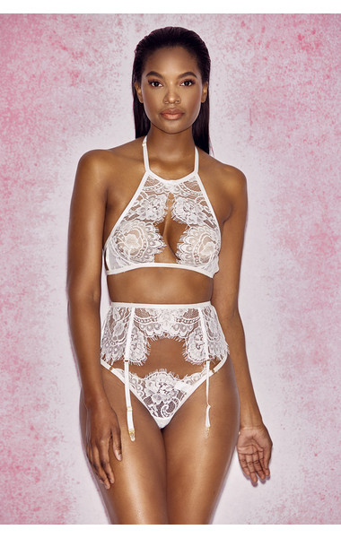 Millicent White Cut Away Lace Bra