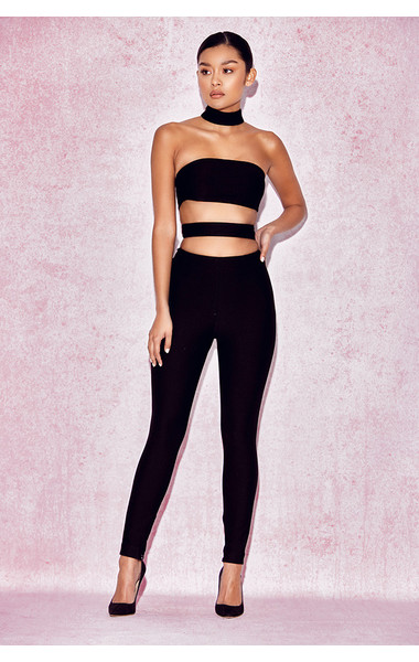'Celena' Black Cut Out Panel Jumpsuit