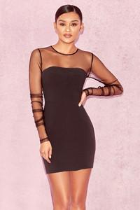 Angel Black Mesh Gathered Sleeve Dress