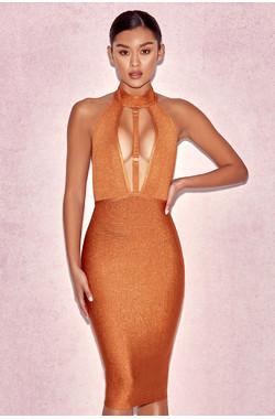 Damara Camel Lurex Halter Bandage Dress