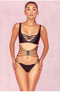 Persia Black Strappy One Piece Swimsuit