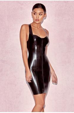 Tahira Black Latex Racer Back Dress