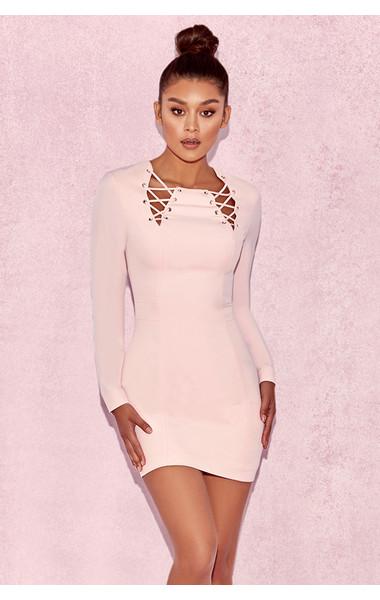 Raina Baby Pink Lace Up Dress