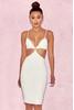 'Aretina' White Stretch Crepe Bralet Dress