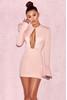 Sarena Blush Satin Slit Sleeve Dress
