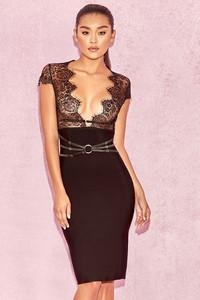 Gaia Black Lace and Bandage Midi Dress