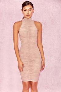 Perza Brown Sheer Mesh High Neck Dress