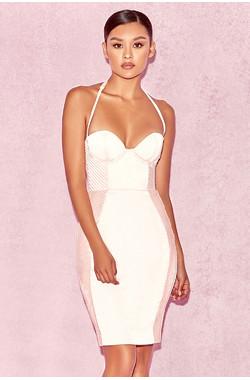 Liana Blush Pink Pin Tuck Bustier Dress