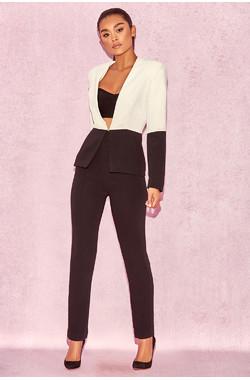 Mereil Black & White Split Colour Suit