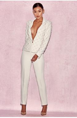 Samia White Pearl Embellished Tuxedo Suit