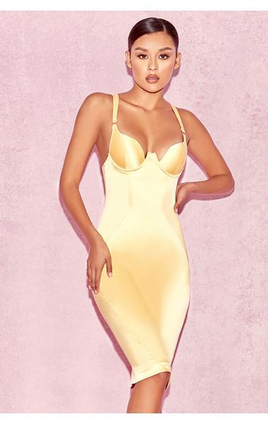 Selena Yellow Satin Curved Cup Dress