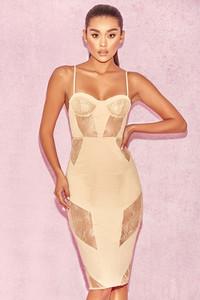 'Dahlia' Nude Lace Panelled Knee Length Midi Dress