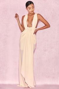 Majolica Cream Cross Back Drape Maxi Dress