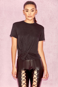 'Aspen' Black Silky Knit Draped Tshirt