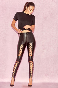 Sukesh Black Lace Up Vegan Leather Trousers
