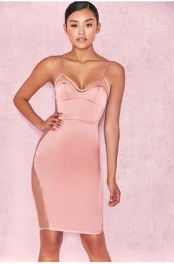 Antares Dusty Pink Satin Bralet Dress