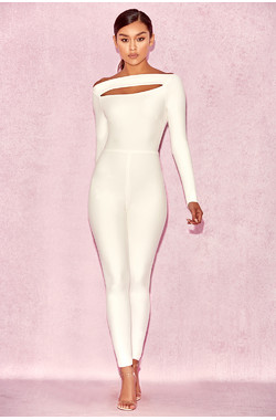 Apsara White Slash Front Jumpsuit