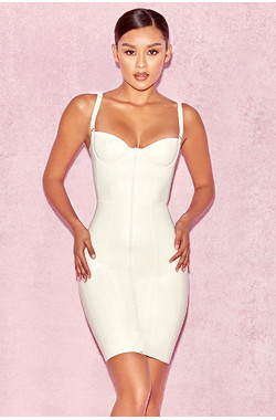 Lexii Off White Bustier Latex Dress