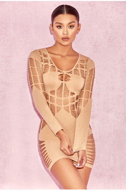 Mahina Nude Ladder Luxe Knit Dress
