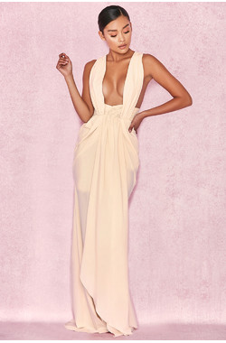 Majolica Cream Cross Back Drape Maxi Dress