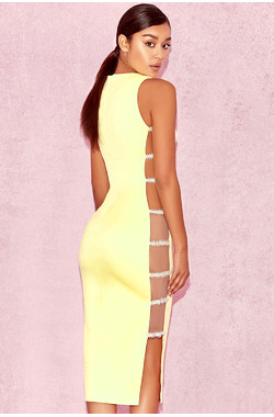 Phedra Yellow Crystal Embellished Dress