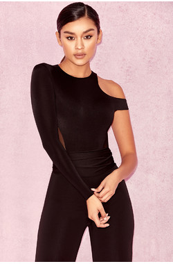 Suena Black One Sleeve Bodysuit