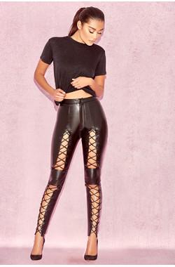 Sukesh Black Lace Up Vegan Leather Trousers