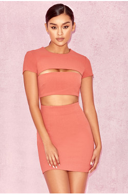 Violeta Salmon Cut Out Mini Dress