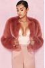 Kenta Rose Cropped Faux Fur Jacket