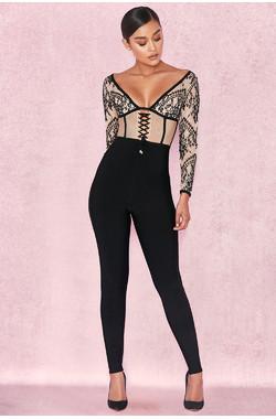 Amra Black & Nude Bandage Lace Jumpsuit