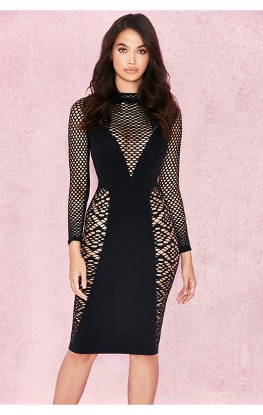 Silvy Black Long Sleeve Open Knit Dress